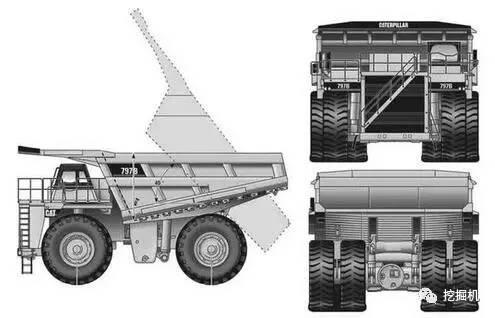 卡特彼勒797矿车的三视图